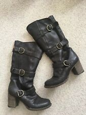 Fiorentini Baker Billie Knee Leather Brown Biker Boots 37 UK 4  Buckle