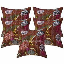 "16"" Indian Kantha Printed Throw Pillowcases Cotton Tropicana Cushion Covers"