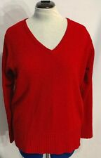 Carolyn Taylor Womens Sweater Size 2X V-Neck Solid Red Long Sleeve