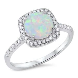 Round Shape Lab Created White Opal with Cubic Zirconia .925 Sterling Silver Ring