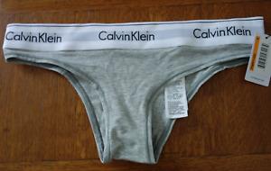CALVIN KLEIN Women's F3897J Gray COTTON Tanga  PANTY Gray SIZE S NWT