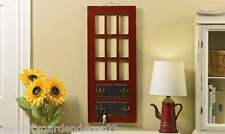 "30"" High Rustic Hanging Red Door Design Wall Plaque - 4 Double Metal Hooks NEW"
