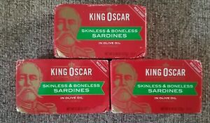 LOT 3 Cans King Oscar Sardines in Olive Oil