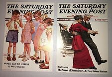 2 Norman Rockwell Saturday Evening Post 5x7 Lithograph Prints
