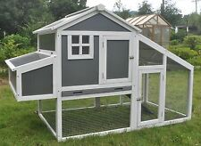 "75"" Wood & Plastic Chicken Duck poultry Hutch House Coop Cage w/ Nesting Boxes"