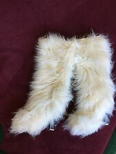 Chanel Knee High Faux Fur Icicle Boots White