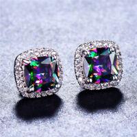 Mystic 925 Silver Princess Cut Rainbow Topaz CZ Stud Earrings Women Jewelry Gift