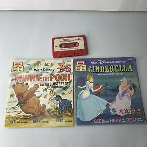 Vintage Disney Cinderella and Winnie The Pooh Read-Along Book and Tape