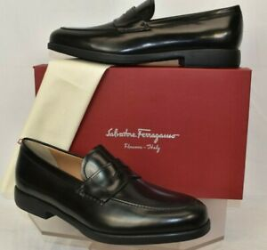 NIB SALVATORE FERRAGAMO LUCKY BLACK POLISHED LEATHER PENNY LOAFERS US 11 EE