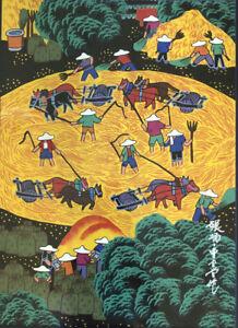 Vtg Signed Chinese Folk Art Peasant  Gouache Painting Original Asian Boats
