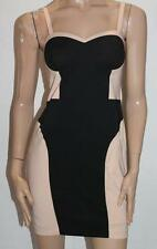 Dotti Designer Black Beige Bodycon Day Dress Size S BNWT #TA45
