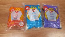 Genuine Mcdonalds Teenie Babies Lot of 3 ty Toys lips, Tusk, And Spinner *READ*