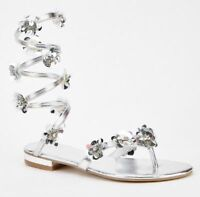 SIZES  6 & 7 SILVER 3D SEQUIN SPIRAL UP THE LEG / GLADIATOR SHOE / BEACH SANDAL