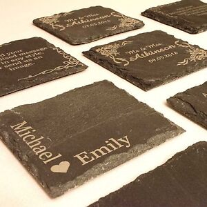 Personalised Slate Coasters. Ideal Wedding Favours, Christening Gift, Aniversary