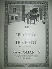 PUBLICITE DE PRESSE AEOLIAN & Co PIANOLA DUO-ART ELECTRIQUE FRENCH AD 1926