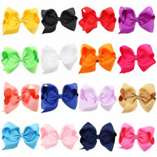 12pcs Large Kids Girls Bow Alligator knot Clips Ribbon Hair Clip Accessories