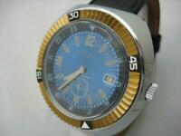 NOS NEW RARE BIG SHOCK RESIST MEN'S RELLIAC DIVERS WATCH WITH DATE 1960'S