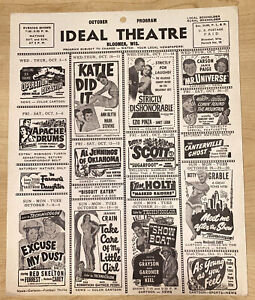 VINTAGE 1951 October Bloomer Wisconsin Ideal Theater Program Show Boat Sugarfoot