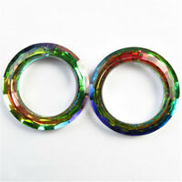 50x9mm 2Pcs Faceted Multicolor Titanium crystal Agate Circle Pendant Bead NN816