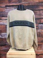 XXL Vintage Nautica Mens Crewneck Sweater Tan Beige Spell Out Logo Sweatshirt