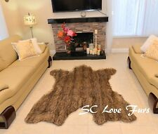 5' x 6' Grizzly Wolf Animal Prints Faux Fur Bearskins Disco Bear Designer Rug