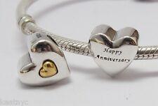 HAPPY ANNIVERSARY HEART CHARM Bead Sterling Silver.925 4 European Bracelets 933