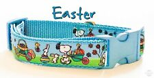 "Easter Snoopy dog collar handmade  adjustable buckle 1"" or 5/8"" wide or leash"