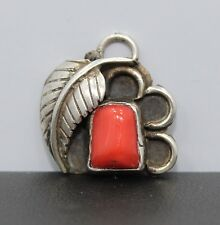 Southwestern Sterling Silver Feather Pendant With Red Coral