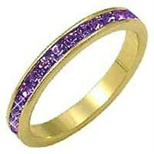 18K GOLD EP AMETHYST ROUND ETERNITY RING sz 5-9 u chose