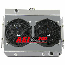 3-ROW CORE ALUMINUM RADIATOR & w/ SHROUD FANS FOR CHEVY CHEVELLE/EL CAMINO 64-67