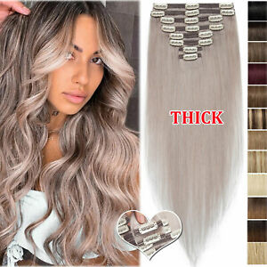 US THICK Double Weft Clip In 100% Real Remy Human Hair Extensions Full Head Grey