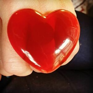 Unique BLOOD RED HEART RING adjustable HUGE resin STATEMENT handmade RUBY fab
