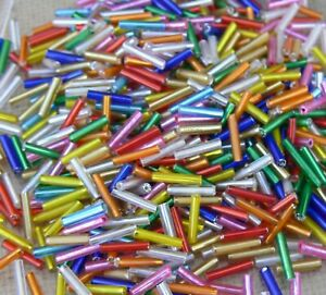 Assorted Colors Bugle Tube Glass Beads 10x2mm 10-Grams