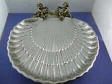 Sterling GORHAM Lg Scallop Shell Dish w/ applied Cherubs / Puttis 40617-2 NoMono