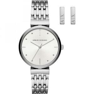 Orologio + Orecchini Donna ARMANI EXCHANGE ZOE AX7117 Bracciale Acciaio Bianco