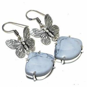 """Butterfly - Howlite Gemstone Handmade Jewelry Earring 1.9"""" ERJ2404"""