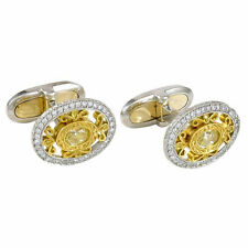 14k White Gold Cuff Link Men's Jewelry Oval Yellow Plated Vintage Style