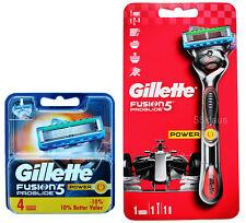 Gillette Fusion 5 PROGLIDE POWER Rasoio flexball (Red) + 4 lame OVP Set = 5