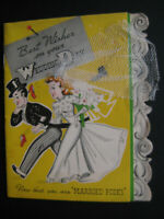 1940s vintage greeting card Gibson WEDDING Multi-Page Rules of Marriage cute