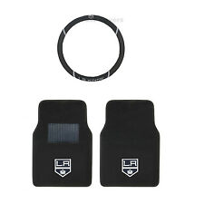 Hockey LA Kings Carpet Floor Mats set With Steering Wheel Cover 3PC Combo