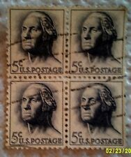 1962 U. S. Scott 1213 George Washington four used cancelled 5 cent stamps