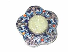 CLOISONNE ENAMEL SCALLOPED BATS DESIGNED WHITE JADE SILVER GILT TRINKET JAR BOX