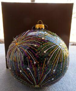 Jay Strongwater Artisan Multi Color Fireworks Black Glass Ornament Swarovski NIB