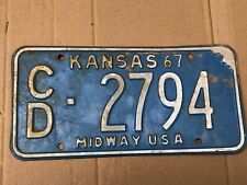 1967 Kansas License Plate 2794 Cloud County Original Midway USA Plates 67