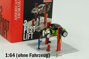Car Lift 2 Post Lift with Figure Red Diecast 1:64 American Diorama