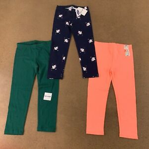 Lot of 3 Toddler Girl Size 4T Mixed Brand Multicolor Full Length Leggings NWT