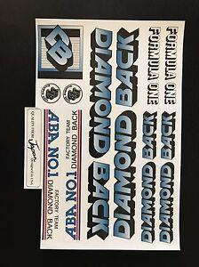 Diamondback FORMULA ONE Decals Sticker Set Suit Your Old School BMX Blue