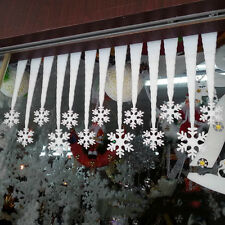 2Pcs White Snowflake Ice Strip Christmas New Year Party Decor Ornament Hot Gift