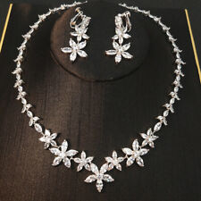 Luxury All CZ Cubic Zirconia Necklace Earrings Clip on Set Wedding Party Pageant