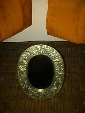 Vintage Crowning Touch Collection Etched Brass Mirror, Metal Tabletop Mirror